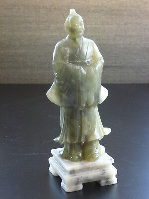China Speckstein Figur chinese carving Jade? soapstone figure Qu Yuan 20thC