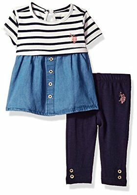 Girl's US Polo Assn. 2 Piece Top with Attached Denim Skirt & Legging Set RRP $44