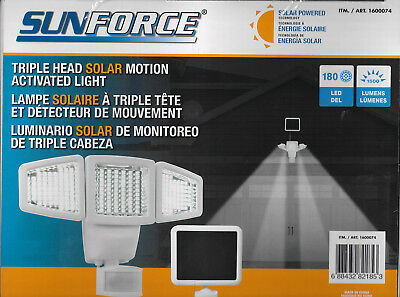 SunForce 180 LED Triple Head Solar Motion Activated Light 1500lm PN 1600074 NEW!