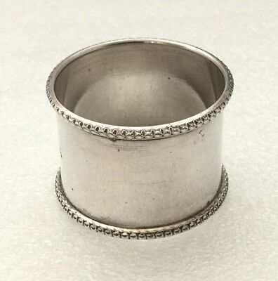 Good Heavy Solid Silver Plain Napkin Ring With Beaded Edge - 29.9 Grams Approx