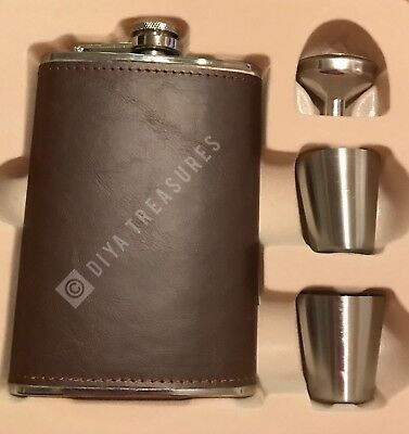 Flask 8oz Stainless Steel with Genuine Brown Leather Wrap w 2 shot cups Incl.