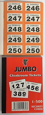 5 x Jumbo Raffle Cloakroom Tickets 1-500 EASY TEAR GOOD QUALITY PAPER VERY CHEAP