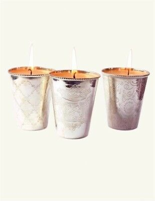 Victorian Trading Co 3pc Julep Silverplate Vanilla Votive Candle Holder Cups New
