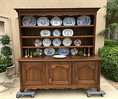 Antique French Country Carved Oak Sideboard Buffet Kitchen Dresser Farmhouse