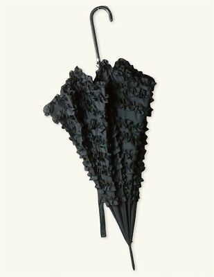 Victorian Trading Co Ruffle Lace Can Can Umbrella Black