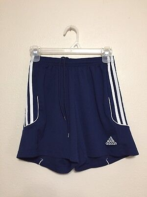 Youth Small (8-10) Adidas Climalite Blue White 3 Stripes Running Athletic Shorts