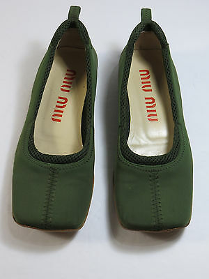 680ed6f7a4f PRADA WOMEN S LOAFERS Flats Lime Green Logo Buckle Size 35.5   5.5 ...