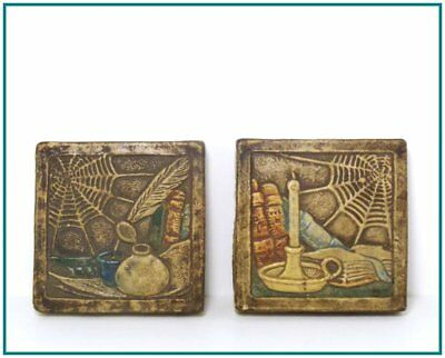 CLAYCRAFT <> Matched Pair of Early Engobe Still Life w/ Spiderweb Tiles <> Great