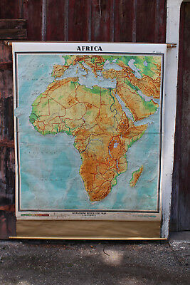 Denoyer Geppert Antique Colorful Relief-Like Africa Pull Down Wall Map w/rack