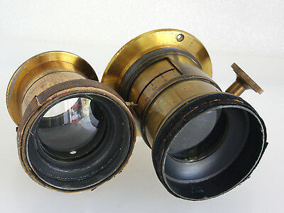 Two Old Brass Lenses, One With Focusing & 12 Blade Aperture, Petzval? READ DESC