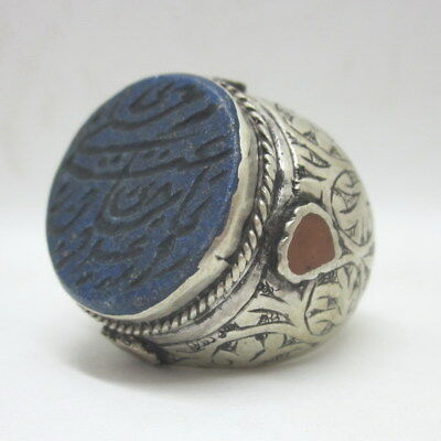 Islamic Rings 925 Sterling Silver Lapis Men Muslim R90 خواتم فضية الإسلامية