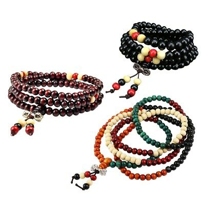 3pcs Buddha Mala Bracelet 8mm Beaded Wooden Prayer Bracelet for Women Men Prayer
