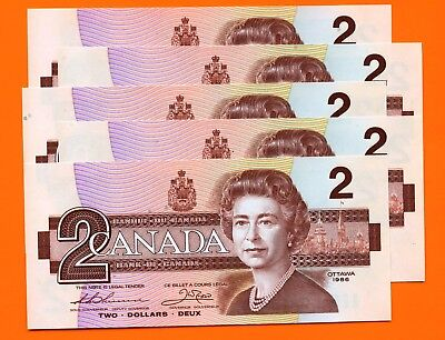5 Canada 1986 2 Dollar Bank Notes UNC Consecutive S/N's EGK5307575 - 79