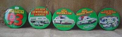 Hess Trucks Vintage Pin Back Buttons. 1992, 93, 94 &1998
