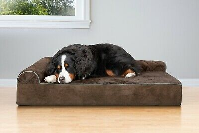 FurHaven Quilted Faux Fur & Velvet Goliath Deluxe L-Chaise Lounge Dog Bed