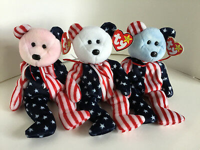 """TY Beanie Babies : SET OF 3 """"SPANGLE"""": 1999, Retired: MWMT: Ready for the 4th!!"""