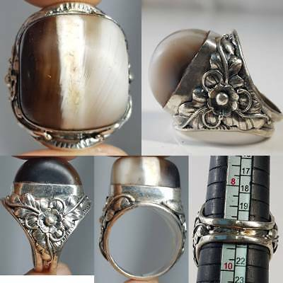 Tibetan Ancient Agate Stone  Set Into A Silver Ring   # 2A