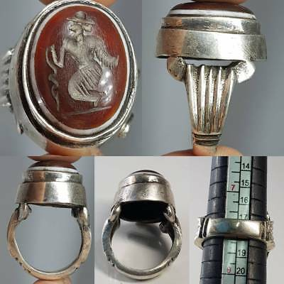 Silver Medieval  Stunning Ring Fighter Agate Stone Intaglio    # 2A