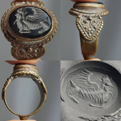 Old Stunning Pegasus Angel Intaglio Antique Stone Ring   # 2A