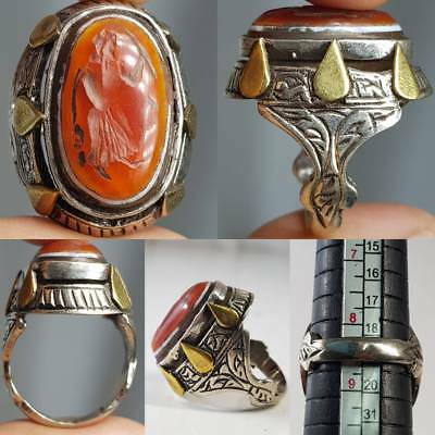Silver Beautiful Ring Medieval Antique Carnelian King Seal Stone  # 2A