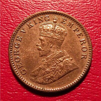 India, British - 1935C  Bronze 1/4 Anna King George V- Nice Au.  Km#512   The