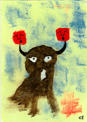 the purveyor of agony e9Art ACEO Outsider Folk Art Abstract Painting Brut OOAK