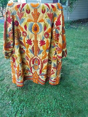 Indian (Asian) Design Handmade Yellow Decorated Coat/ Hand Stitched Wool Design