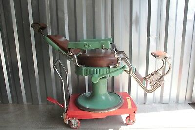 Koken Barber Chair 1920's green porcelain works well