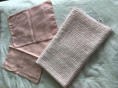 Zara Home Quilted Cot Quilt Blanket And Linen Cushion Covers Bundle