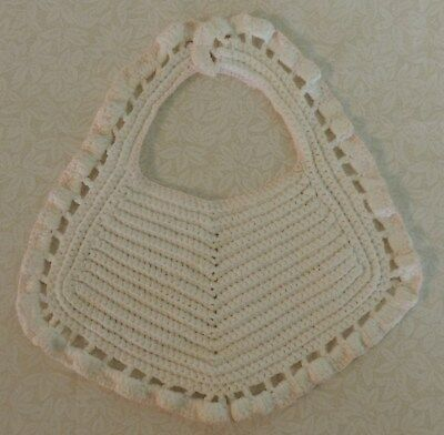 Vintage Handmade Baby Bib White Crochet with Pale Pink Edging Nice Condition