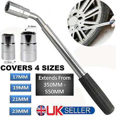 17 19 21 23mm Extendable Wheel Telescopic Car Van Brace Socket Tyre Nut Wrench Y