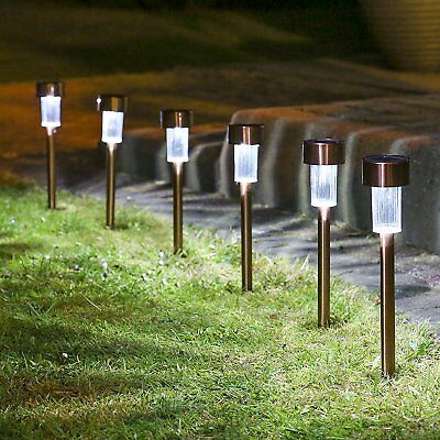 10 Solar Powered Garden Lights Post Patio Outdoor Led Lighting Stainless Steel Y