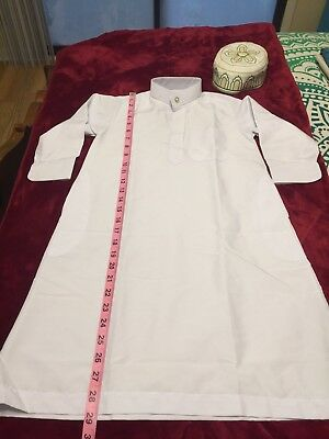 ISLAMIC BOYS KURTA NAWRAK SHIRT/WAISTCOAT AND PRAYER CAP Size 30 (European boys)