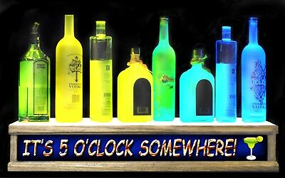 "24"" LIGHTED liquor bottle display shelf  IT'S 5'OCLOCK SOMEWHERE LED BAR SIGN"