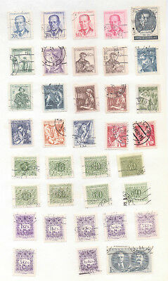 CZECHOSLOVAKIA Good lot of Used Stamps on Album Page 37 Stamps (702)