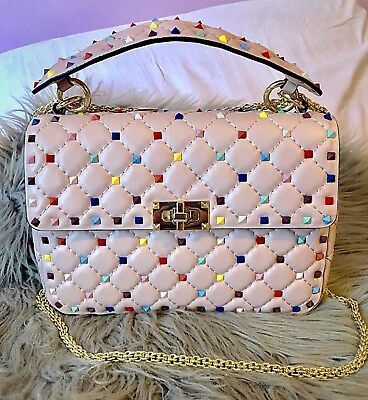 a443b54c60 ❤️RARE and STUNNING VALENTINO ROCKSTUD COLOR CANDY STUD SPIKE MEDIUM CHAIN  BAG❤️