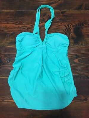 Liz Lange Maternity Aqua Green Halter Swim Tankini Top Women's Medium