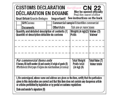 Self Adhesive CN22 Custom Declaration Forms 10,15,20,25,30,50,100 or 250 Labels
