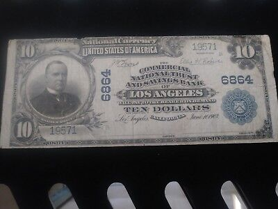 1902 $10 National Bank Note. Los Angels #6864
