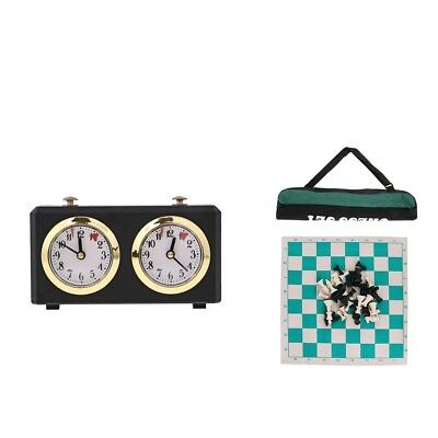 Tournament Chess Plastic Pieces Board & Portable Cylinder Bag Game Clock