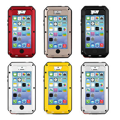 Case Aluminum Waterproof Shockproof Glass Gorilla Metal Case Cover for iPhone 5S