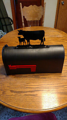 Standing Cow and Calf Pair Metal Mailbox Topper Sign -- Glossy Black Angus Cow