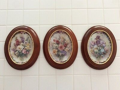 Lena Liu Floral Cameos 1st, 2nd & 3rd issue Plates with frames