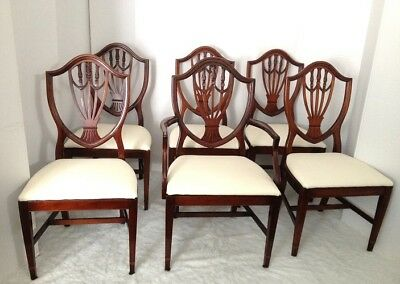 6 Beautiful Carved Antique Mahogany Hepplewhite Shield Back Dining Room  Chairs