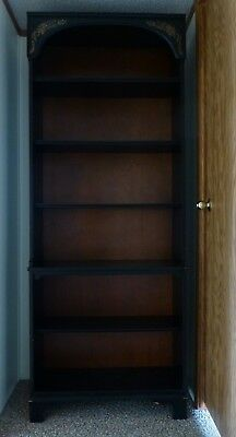 Vintage L. Hitchcock Maple Black Harvest Bookcase With Six Fixed Shelves