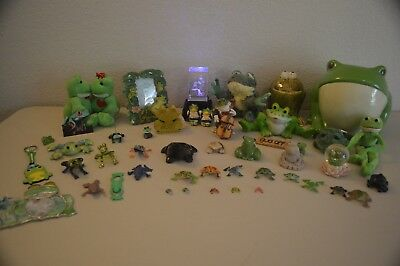 Frog Collection Lot of 46 Glass, Marble, Sand, Stuffed Animal Frogs Etc.