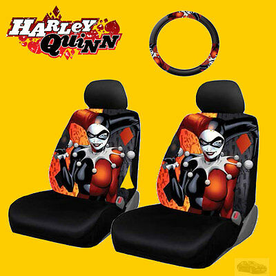 New Marvel Comic Harley Quinn Car Seat and Steering Wheel Cover for BMW