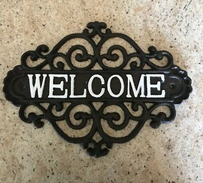 Welcome Sign  Cast Iron Rustic  Decorative Wall Plaque Vintage Design