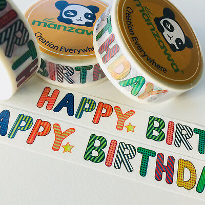 Washi Tape Happy Birthday With Star 15Mm X 10Mtr Planner Wrap Mail Art Craft