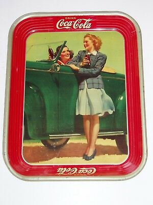 1942 Coca-Cola Two Girls with a Green Convertible Serving Tray! - Vintage Coke